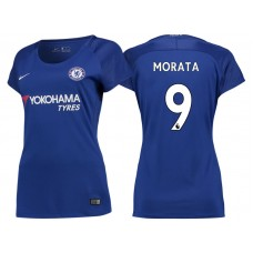 Women - Chelsea 2017/18 Alvaro Morata #9 Blue Home Jersey - Authentic