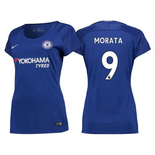 Women - Chelsea 2017/18 Alvaro Morata #9 Blue Home Jersey - Authentic