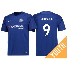 Youth - Chelsea 2017/18 Alvaro Morata #9 Blue Home Jersey - Authentic