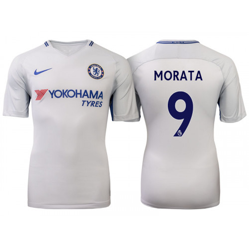 Chelsea 2017/18 Alvaro Morata #9 White Away Jersey - Authentic