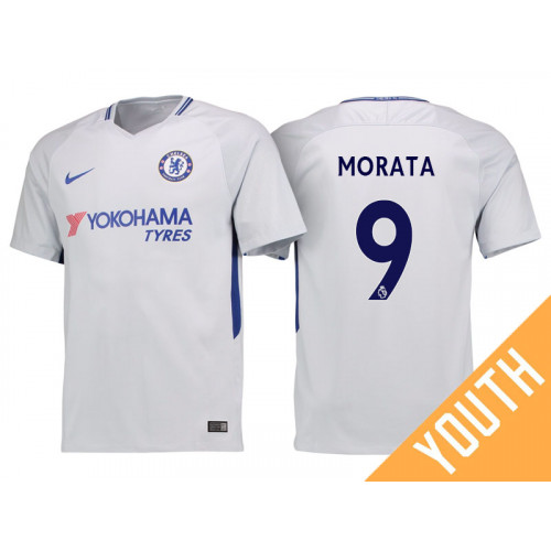 separation shoes 9751d cfeeb Youth - Chelsea 2017/18 Alvaro Morata #9 White Away Jersey ...