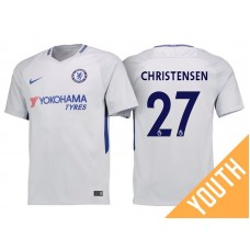 Youth - Chelsea 2017/18 Andreas Christensen #27 White Away Jersey - Authentic