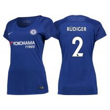 Women - Chelsea 2017/18 Antonio Rudiger #2 Blue Home Jersey - Authentic