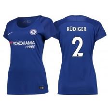 Women - Chelsea 2017/18 Antonio Rudiger #2 Blue Home Jersey - Authentic
