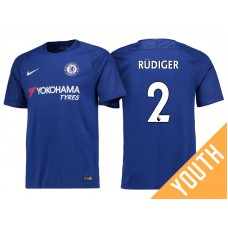 Youth - Chelsea 2017/18 Antonio Rudiger #2 Blue Home Jersey - Authentic