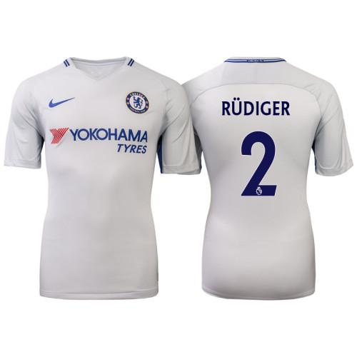 Chelsea 2017/18 Antonio Rudiger #2 White Away Jersey - Authentic