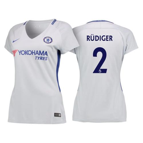 finest selection 8036e 1f655 Women - Chelsea 2017/18 Antonio Rudiger #2 White Away Jersey ...