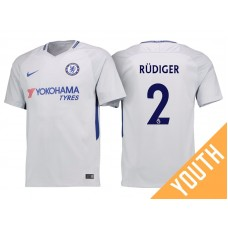 Youth - Chelsea 2017/18 Antonio Rudiger #2 White Away Jersey - Authentic