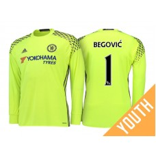 96340fbae5f Youth - Chelsea 2016 17 Asmir Begovic Yellow Replica Goalkeeper Long Jersey