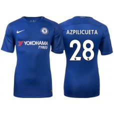 Chelsea 2017/18 Cesar Azpilicueta #28 Blue Home Jersey - Authentic