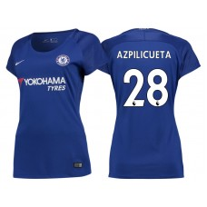 Women - Chelsea 2017/18 Cesar Azpilicueta #28 Blue Home Jersey - Authentic