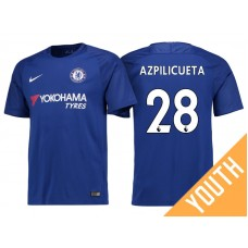 Youth - Chelsea 2017/18 Cesar Azpilicueta #28 Blue Home Jersey - Authentic