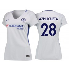 Women - Chelsea 2017/18 Cesar Azpilicueta #28 White Away Jersey - Authentic