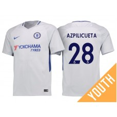 Youth - Chelsea 2017/18 Cesar Azpilicueta #28 White Away Jersey - Authentic