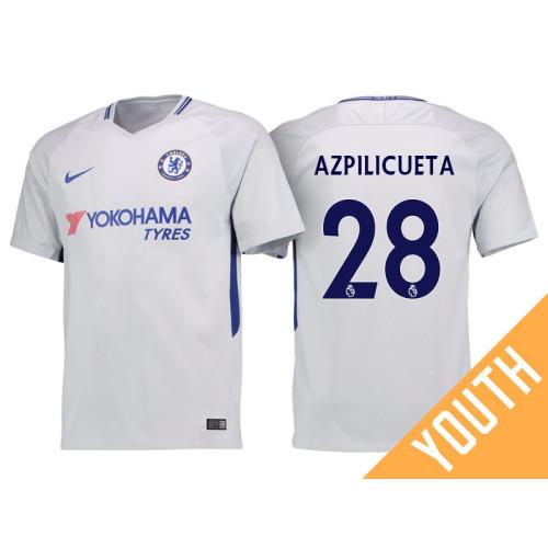 cheaper 6ae36 117e9 Youth - Chelsea 2017/18 Cesar Azpilicueta #28 White Away ...