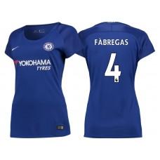 Women - Chelsea 2017/18 Cesc Fabregas #4 Blue Home Jersey - Authentic