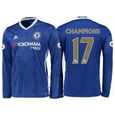 Chelsea 2016/17 Champions #17 Blue Home Long Jersey