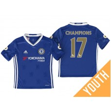 Youth - Chelsea 2016/17 #17 Champions Blue Home Jersey