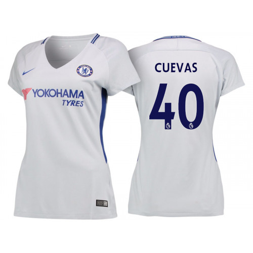 Women - Chelsea 2017/18 Cristian Cuevas #40 White Away Jersey - Authentic