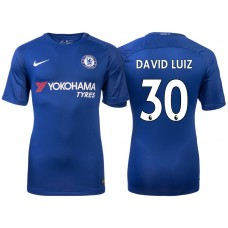 Chelsea 2017/18 David Luiz #30 Blue Home Jersey - Authentic
