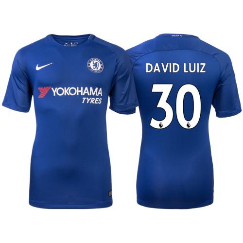 Chelsea 2017/18 David Luiz #30 Blue Home Jersey - Authentic