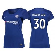 Women - Chelsea 2017/18 David Luiz #30 Blue Home Jersey - Authentic