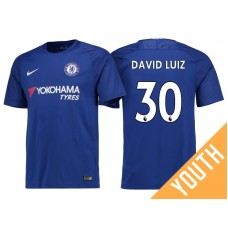 Youth - Chelsea 2017/18 David Luiz #30 Blue Home Jersey - Authentic
