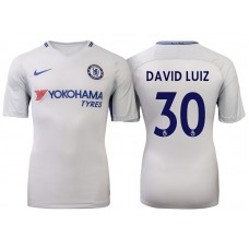 Chelsea 2017/18 David Luiz #30 White Away Jersey - Authentic
