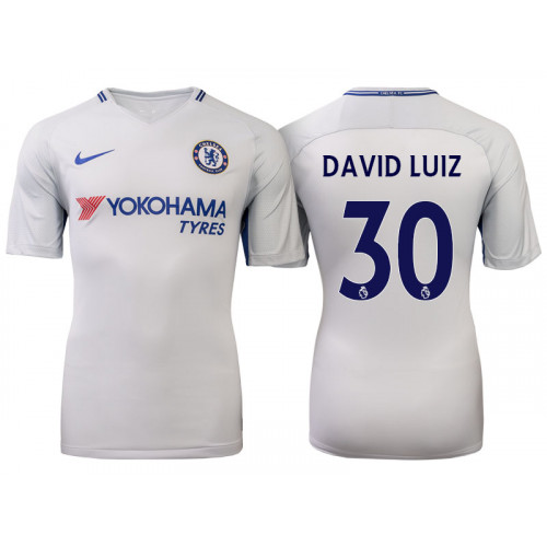 Chelsea 2017/18 David Luiz #30 White Away Jersey - Replica