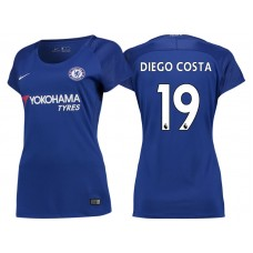 Women - Chelsea 2017/18 Diego Costa #19 Blue Home Jersey - Authentic