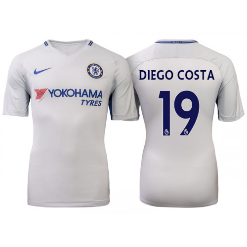 Chelsea 2017/18 Diego Costa #19 White Away Jersey - Authentic
