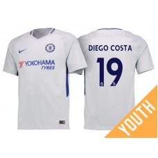 Youth - Chelsea 2017/18 Diego Costa #19 White Away Jersey - Authentic