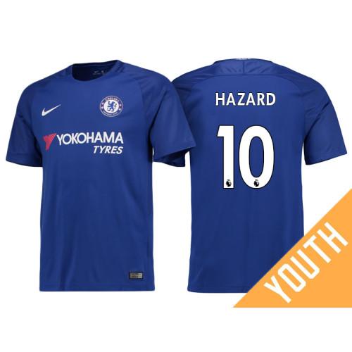 2e07787ffa6 Youth - Chelsea 2017 18 Eden Hazard  10 Blue Home Jersey - Authentic