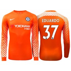 Chelsea 2017/18Eduardo Carvalho #37 Orange Home Goalkeeper Long Jersey