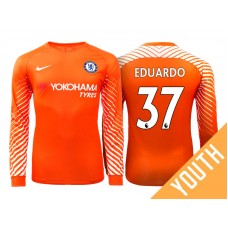 Youth - Chelsea 2017/18 Eduardo Carvalho #37 Orange Home Goalkeeper Long Jersey