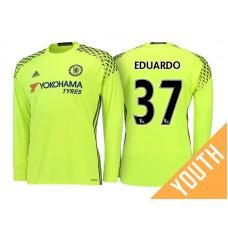 Youth - Chelsea 2016/17 Eduardo Yellow Replica Goalkeeper Long Jersey