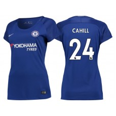 Women - Chelsea 2017/18 Gary Cahill #24 Blue Home Jersey - Authentic