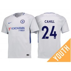 Youth - Chelsea 2017/18 Gary Cahill #24 White Away Jersey - Authentic