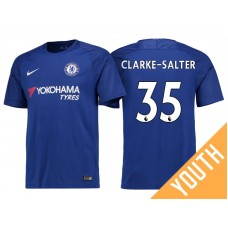 Youth - Chelsea 2017/18 Jake Clarke-Salter #35 Blue Home Jersey - Authentic