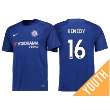 Youth - Chelsea 2017/18 Kenedy #16 Blue Home Jersey - Authentic