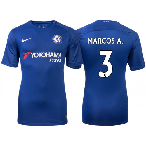 Chelsea 2017/18 Marcos Alonso #3 Blue Home Jersey - Replica