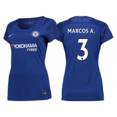 Women - Chelsea 2017/18 Marcos Alonso #3 Blue Home Jersey - Authentic