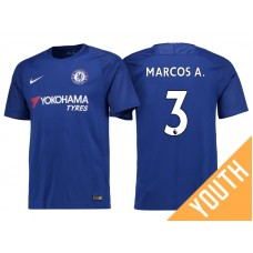 Youth - Chelsea 2017/18 Marcos Alonso #3 Blue Home Jersey - Replica