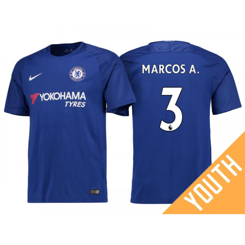 Youth - Chelsea 2017/18 Marcos Alonso #3 Blue Home Jersey - Authentic