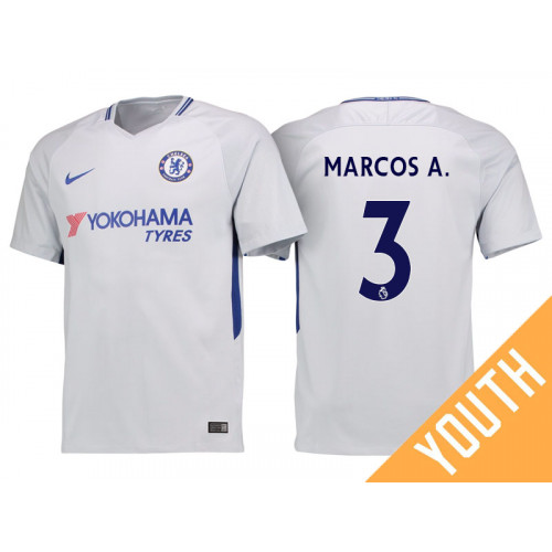 online store 9d80b 1eb4d Youth - Chelsea 2017/18 Marcos Alonso #3 White Away Jersey ...