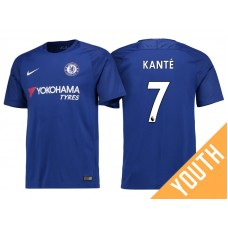 Youth - Chelsea 2017/18 N'Golo Kante #7 Blue Home Jersey - Authentic