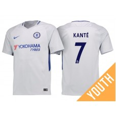 Youth - Chelsea 2017/18 N'Golo Kante #7 White Away Jersey - Authentic