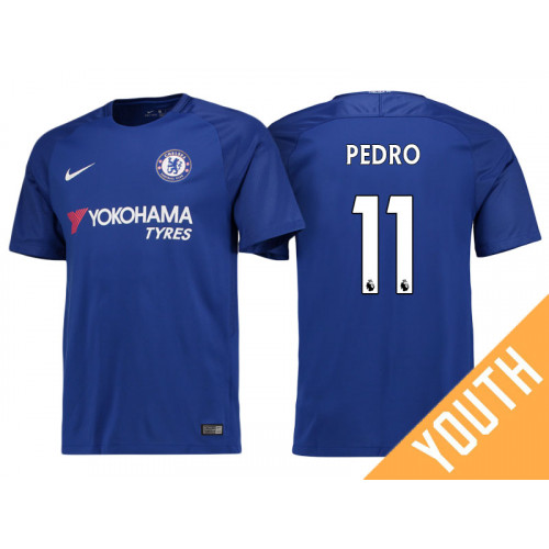 Youth - Chelsea 2017/18 Pedro #11 Blue Home Jersey - Authentic