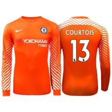 Chelsea 2017/18Thibaut Courtois #13 Orange Home Goalkeeper Long Jersey