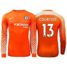 Chelsea 2017/18 Thibaut Courtois #13 Orange Home Goalkeeper Long Jersey